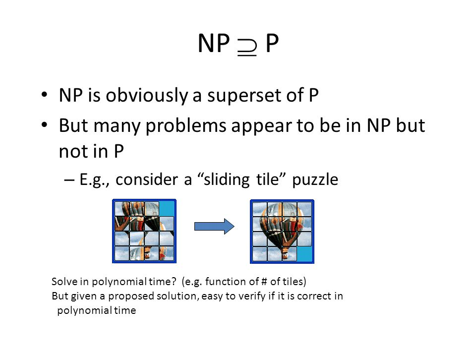 NP  P NP is obviously a superset of P But many problems appear to be in NP but not in P – E.g., consider a sliding tile puzzle Solve in polynomial time.