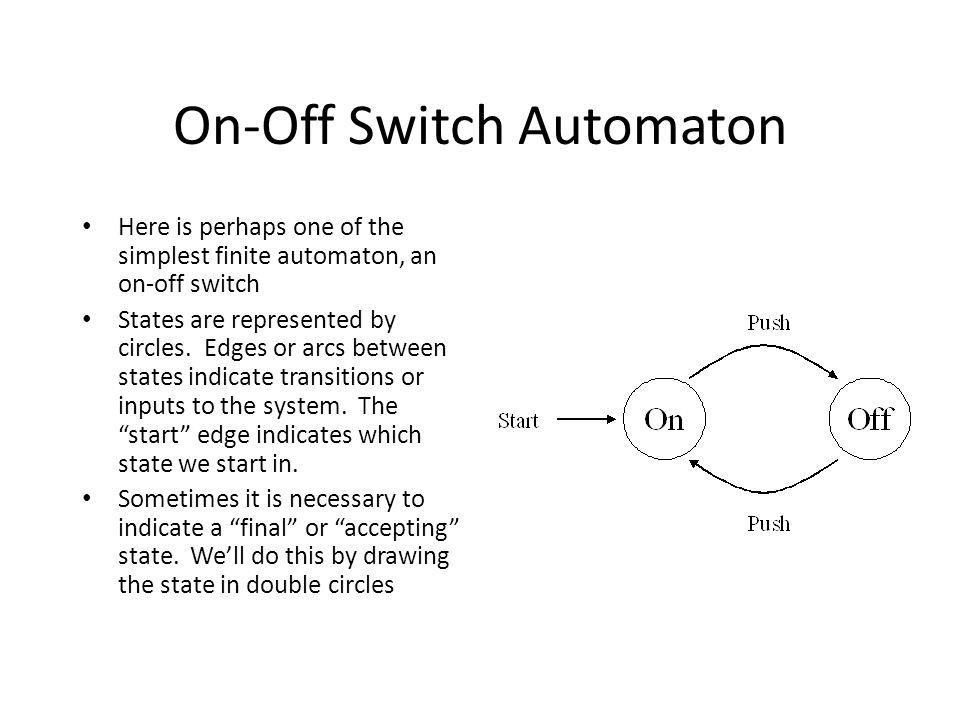 On-Off Switch Automaton Here is perhaps one of the simplest finite automaton, an on-off switch States are represented by circles.