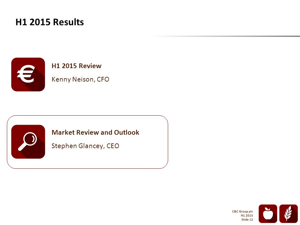H1 2015 Results C&C Group plc H1 2015 Slide 12 H1 2015 Review Kenny Neison, CFO Market Review and Outlook Stephen Glancey, CEO