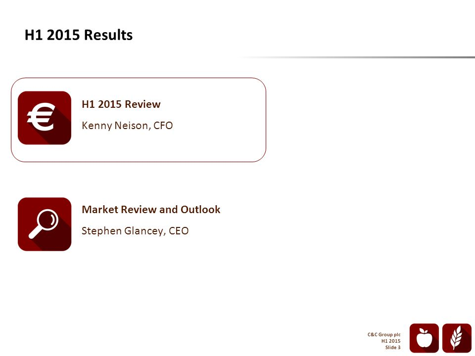 H1 2015 Results C&C Group plc H1 2015 Slide 3 H1 2015 Review Kenny Neison, CFO Market Review and Outlook Stephen Glancey, CEO