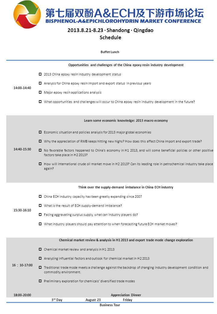 2013.8.21-8.23 · Shandong · Qingdao Schedule