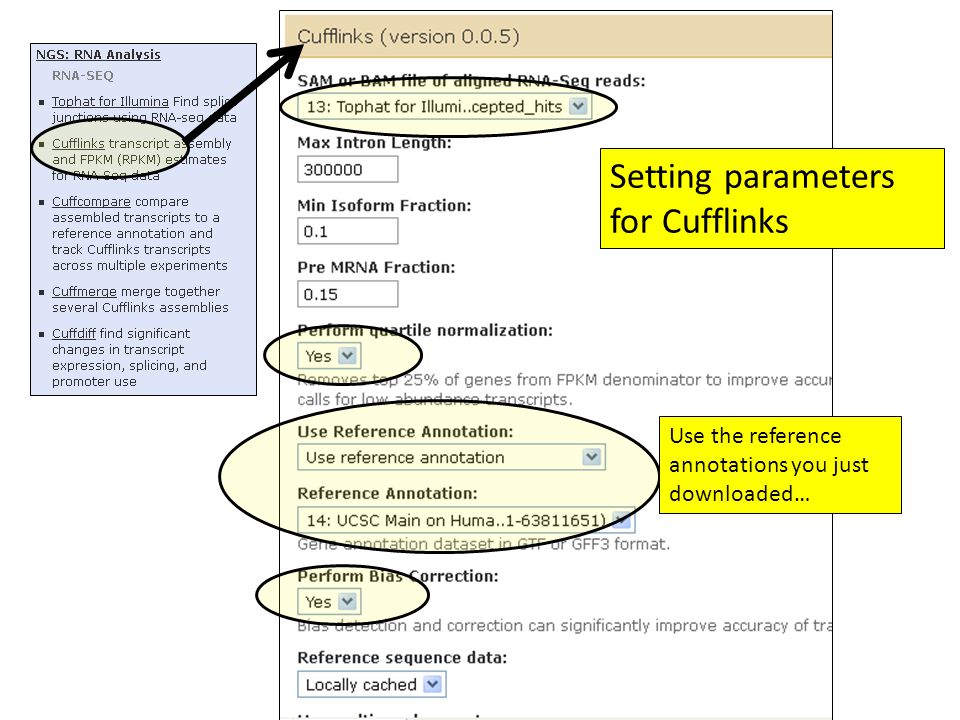 Setting parameters for Cufflinks Use the reference annotations you just downloaded…