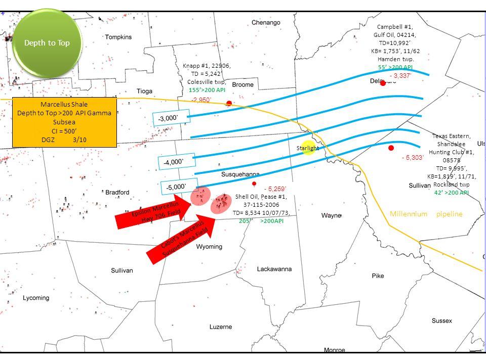 -3,000 ' -4,000 ' -5,000 ' - 5,303 ' - 3,337' -2,950 ' - 5,259 ' Knapp #1, 22906, TD = 5,242' Colesville twp, 155'>200 API Campbell #1, Gulf Oil, 04214, TD=10,992' KB= 1,753', 11/62 Hamden twp.