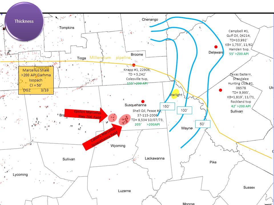 150 ' 100 ' 50 ' Texas Eastern, Shandalee Hunting Club #1, 08578 TD= 9,995', KB=1,819', 11/71, Rockland twp 42' >200 API Campbell #1, Gulf Oil, 04214, TD=10,992' KB= 1,753', 11/62 Hamden twp.