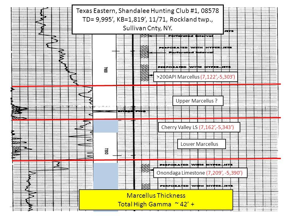 Onondaga Limestone (7,209', -5,390') Texas Eastern, Shandalee Hunting Club #1, 08578 TD= 9,995', KB=1,819', 11/71, Rockland twp., Sullivan Cnty, NY.
