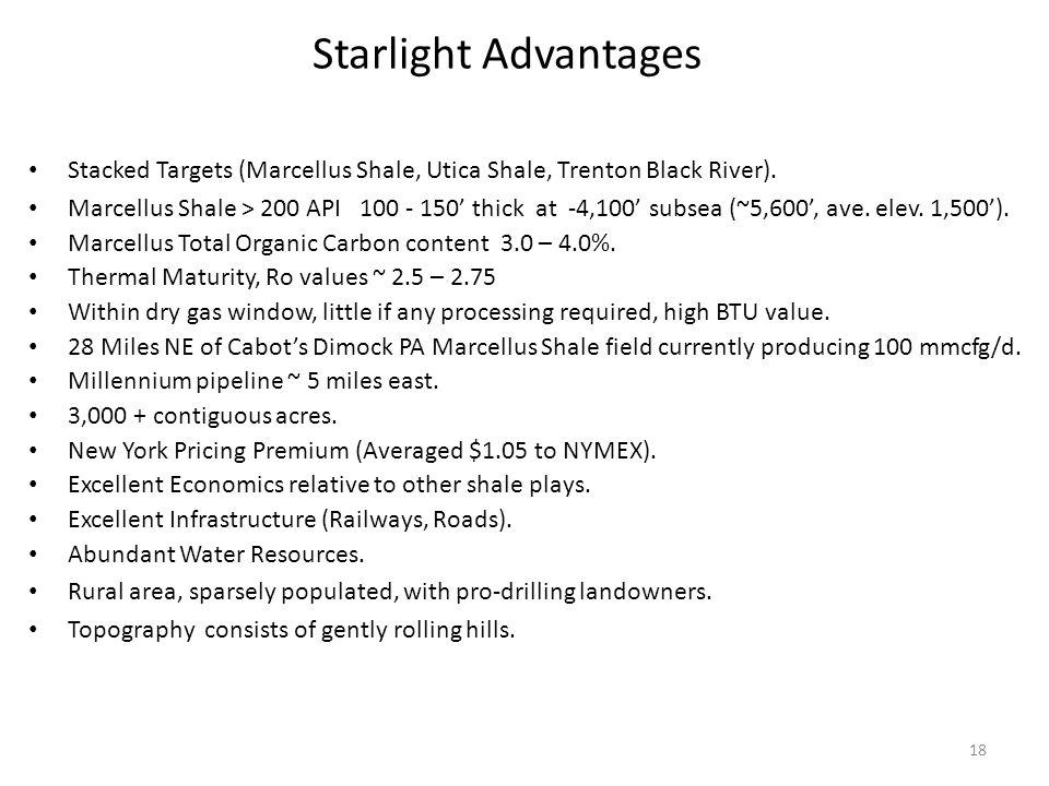 18 Starlight Advantages Stacked Targets (Marcellus Shale, Utica Shale, Trenton Black River).