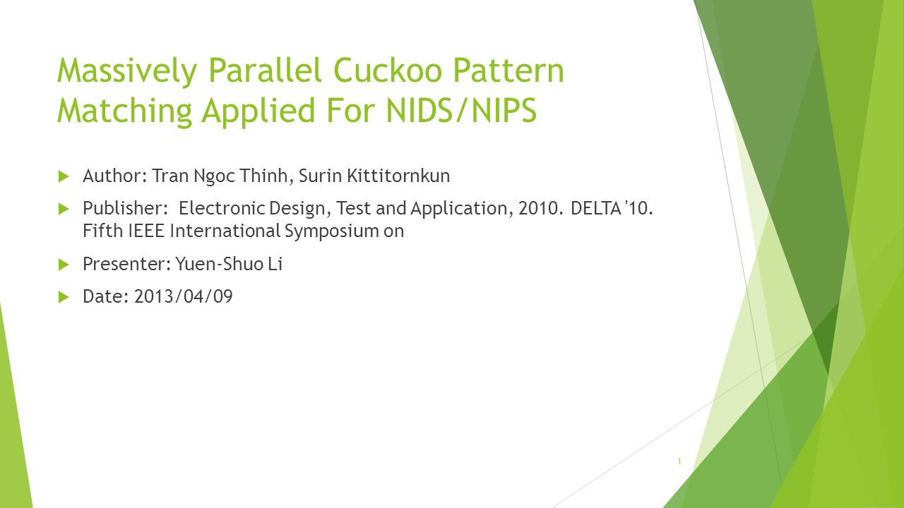 Massively Parallel Cuckoo Pattern Matching Applied For NIDS/NIPS  Author: Tran Ngoc Thinh, Surin Kittitornkun  Publisher: Electronic Design, Test and Application, 2010.