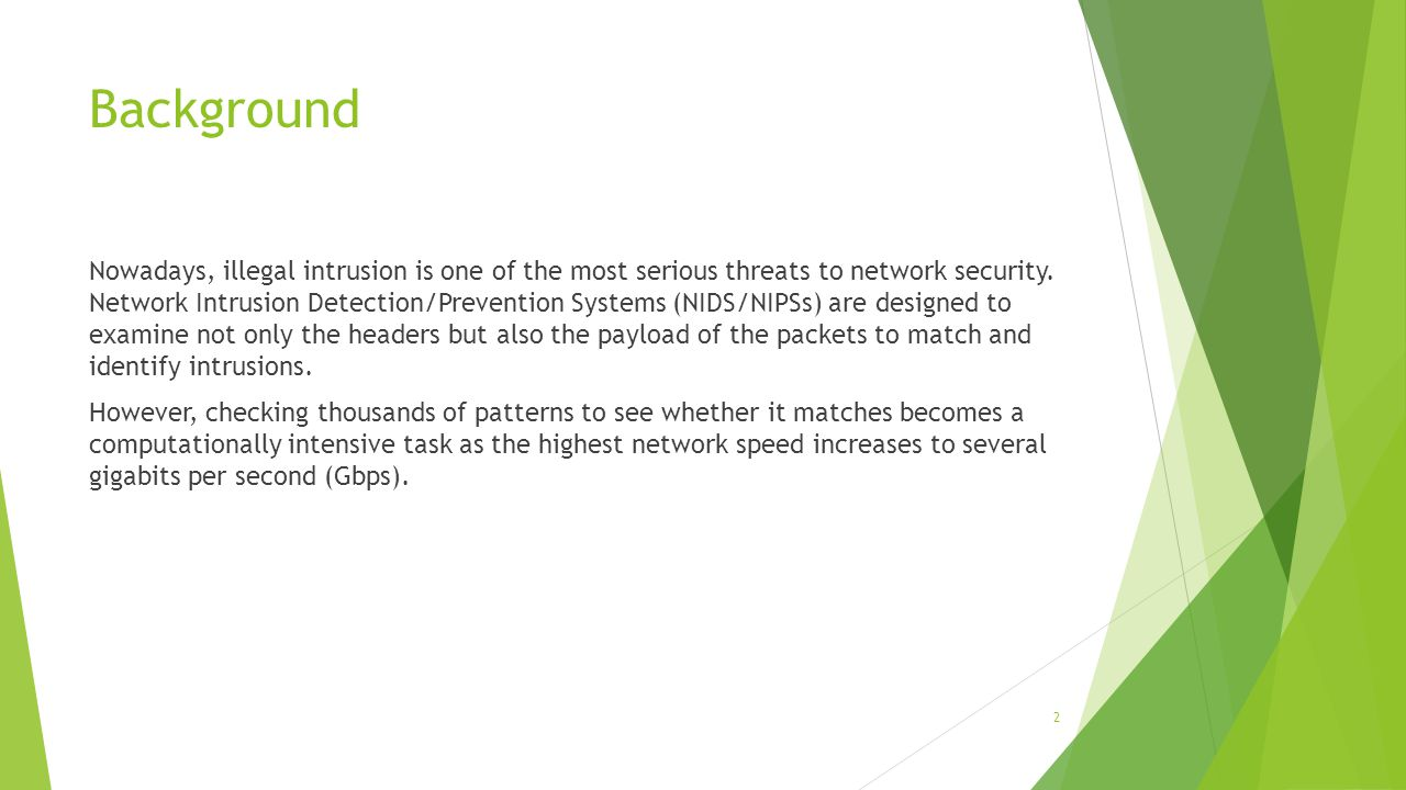 Background Nowadays, illegal intrusion is one of the most serious threats to network security.