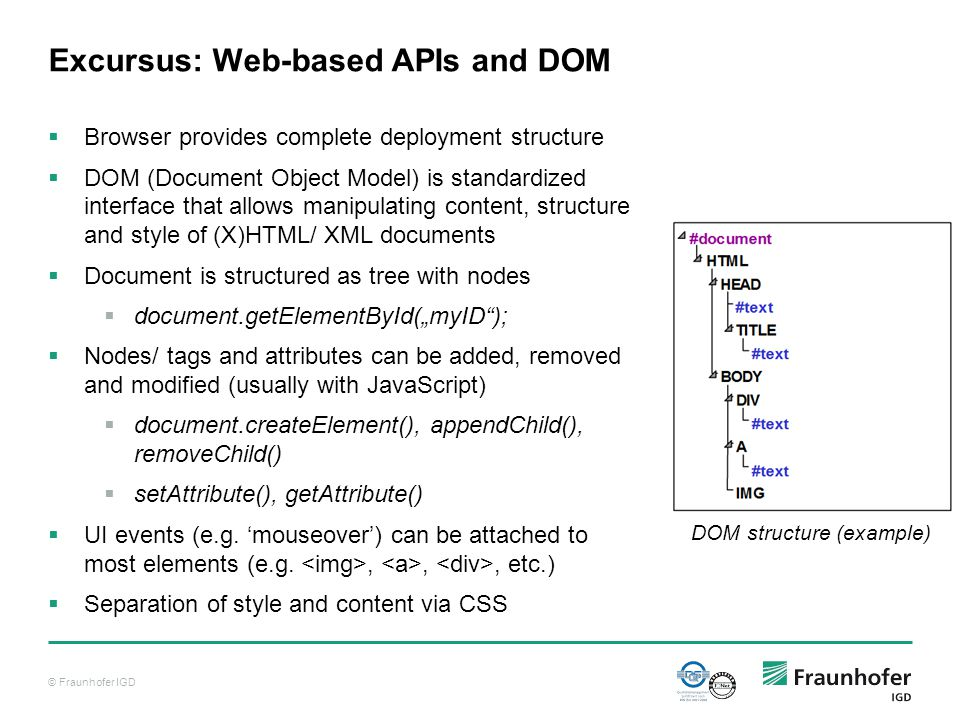 "© Fraunhofer IGD Excursus: Web-based APIs and DOM  Browser provides complete deployment structure  DOM (Document Object Model) is standardized interface that allows manipulating content, structure and style of (X)HTML/ XML documents  Document is structured as tree with nodes  document.getElementById(""myID );  Nodes/ tags and attributes can be added, removed and modified (usually with JavaScript)  document.createElement(), appendChild(), removeChild()  setAttribute(), getAttribute()  UI events (e.g."