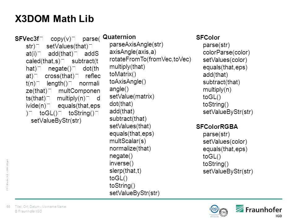 © Fraunhofer IGD X3DOM Math Lib SFVec3f copy(v) parse( str) setValues(that) at(i) add(that) addS caled(that,s) subtract(t hat) negate() dot(th at) cross(that) reflec t(n) length() normali ze(that) multComponen ts(that) multiply(n) d ivide(n) equals(that,eps ) toGL() toString() setValueByStr(str) Titel, Ort, Datum - Vorname Name55 PPT_Master_IGD_v2009.200.ppt Quaternion parseAxisAngle(str) axisAngle(axis,a) rotateFromTo(fromVec,toVec) multiply(that) toMatrix() toAxisAngle() angle() setValue(matrix) dot(that) add(that) subtract(that) setValues(that) equals(that,eps) multScalar(s) normalize(that) negate() inverse() slerp(that,t) toGL() toString() setValueByStr(str) SFColor parse(str) colorParse(color) setValues(color) equals(that,eps) add(that) subtract(that) multiply(n) toGL() toString() setValueByStr(str) SFColorRGBA parse(str) setValues(color) equals(that,eps) toGL() toString() setValueByStr(str)