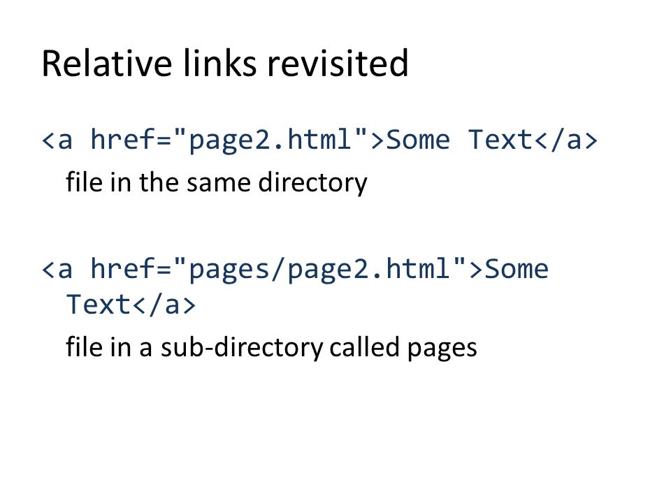 Relative links revisited Some Text file in the same directory Some Text file in a sub-directory called pages