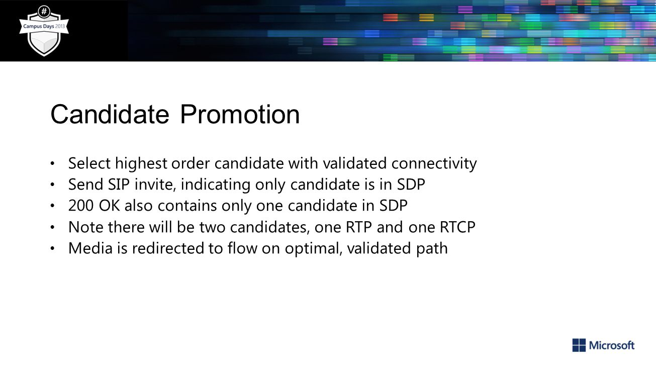 Candidate Promotion Select highest order candidate with validated connectivity Send SIP invite, indicating only candidate is in SDP 200 OK also contains only one candidate in SDP Note there will be two candidates, one RTP and one RTCP Media is redirected to flow on optimal, validated path