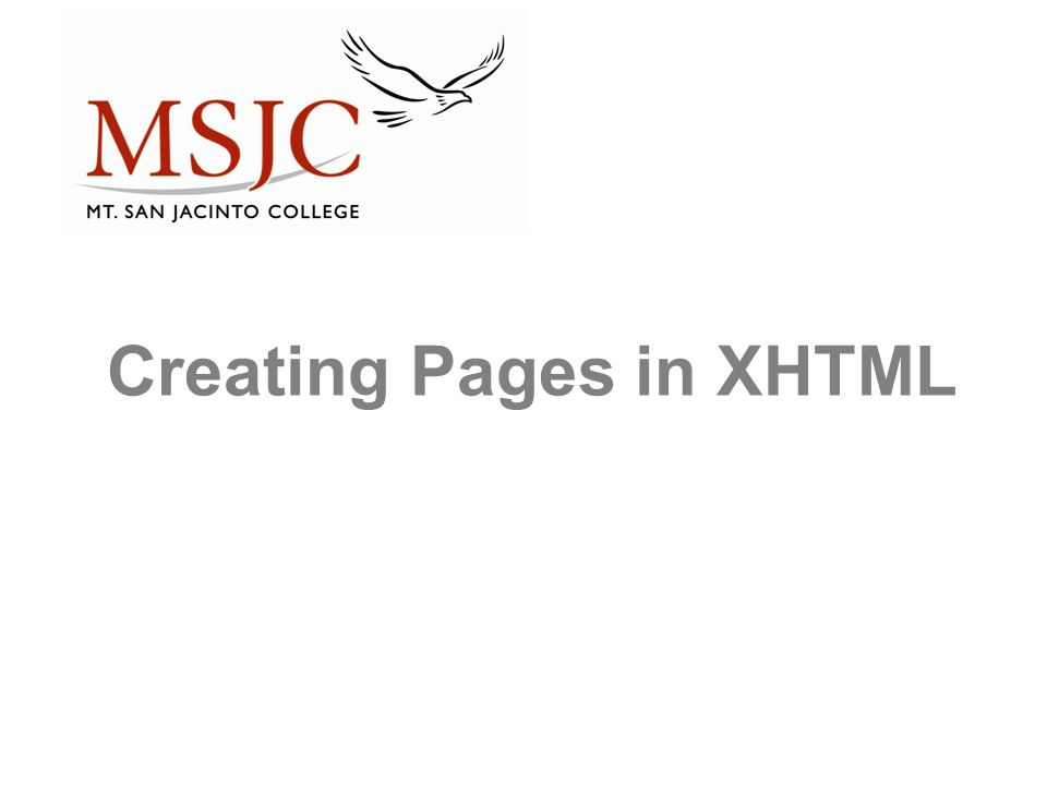 Creating Pages in XHTML