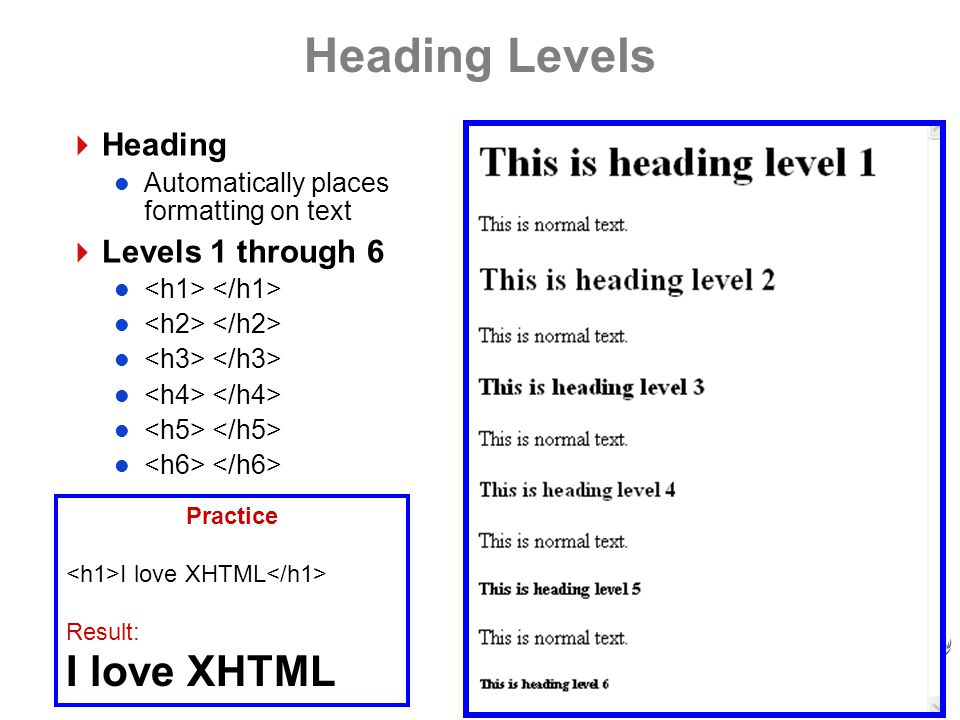 Heading Levels  Heading Automatically places formatting on text  Levels 1 through 6 Practice I love XHTML Result: I love XHTML