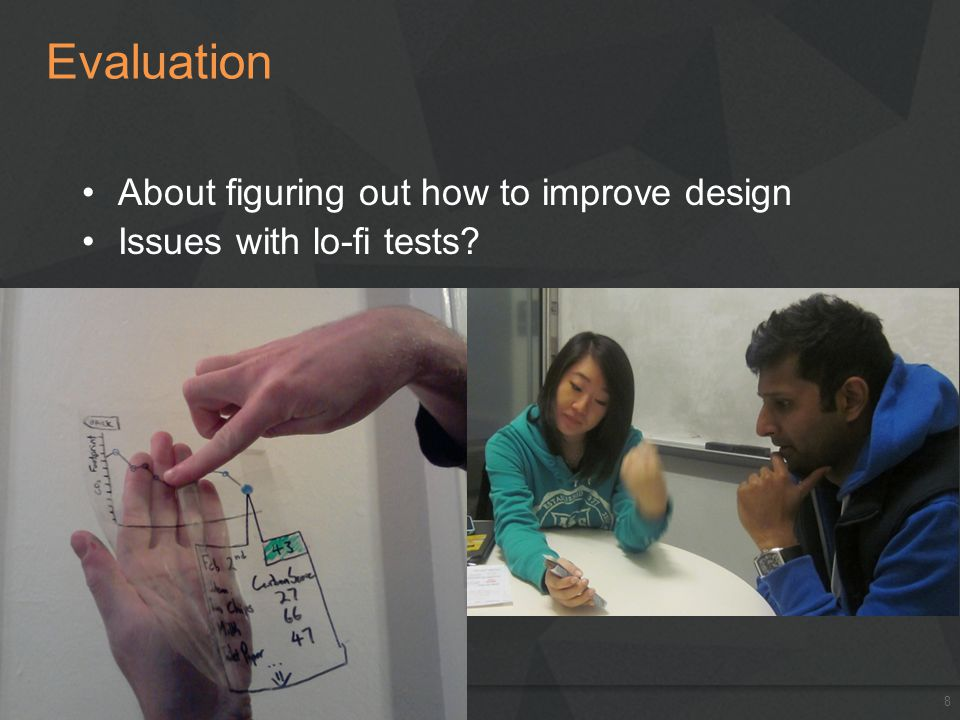 Evaluation About figuring out how to improve design Issues with lo-fi tests? Jan. 14-18, 20138