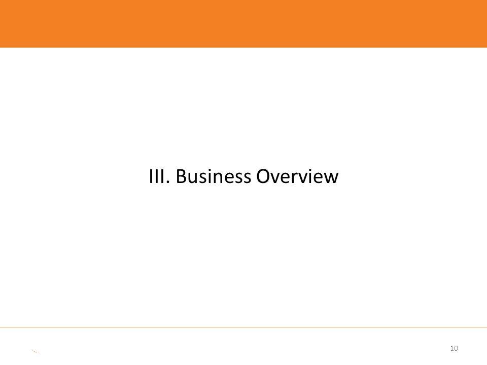 10 III. Business Overview