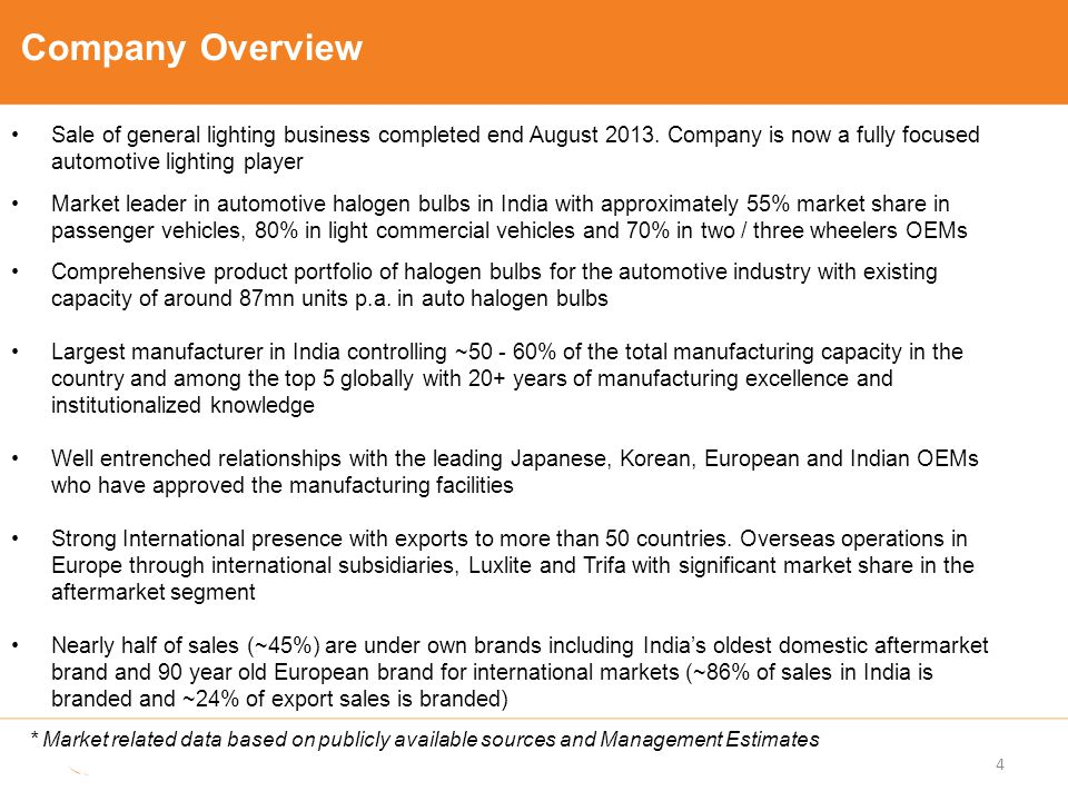 Company Overview Sale of general lighting business completed end August 2013. Company is now a fully focused automotive lighting player Market leader