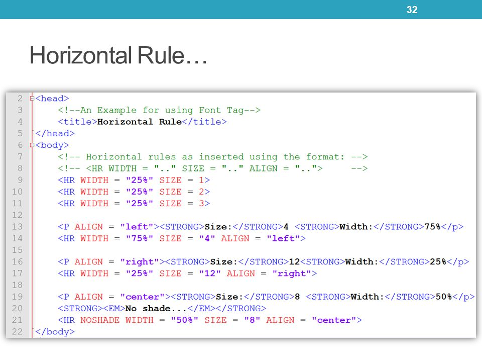 Horizontal Rule… 32
