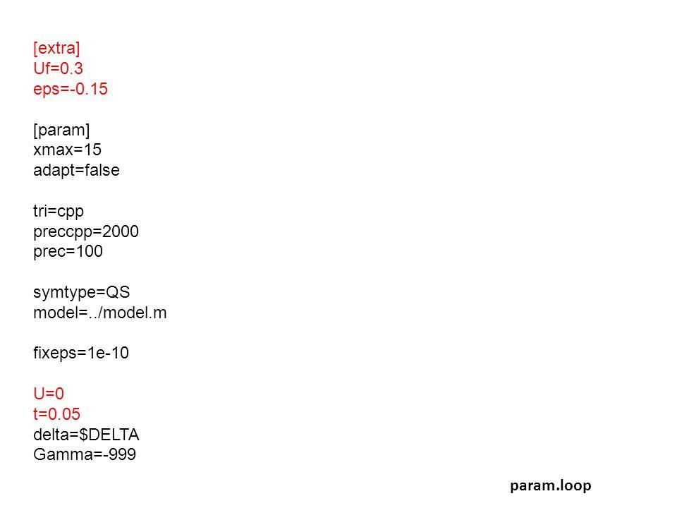 [extra] Uf=0.3 eps=-0.15 [param] xmax=15 adapt=false tri=cpp preccpp=2000 prec=100 symtype=QS model=../model.m fixeps=1e-10 U=0 t=0.05 delta=$DELTA Ga