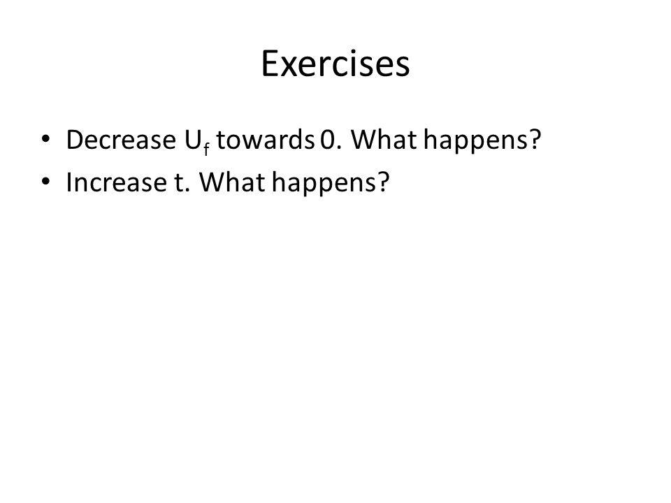 Exercises Decrease U f towards 0. What happens? Increase t. What happens?