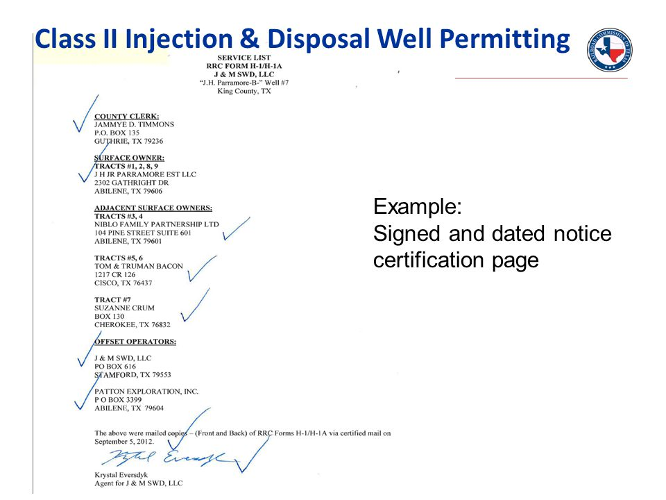 Example: Signed and dated notice certification page Class II Injection & Disposal Well Permitting