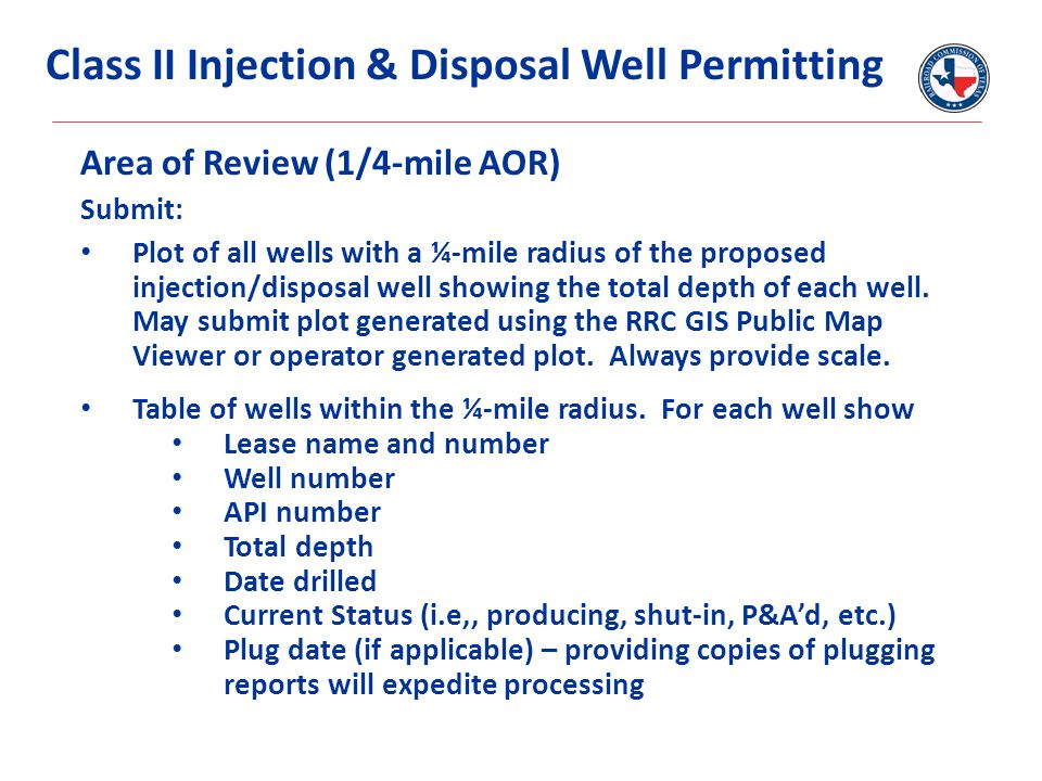 Area of Review (1/4-mile AOR) Submit: Plot of all wells with a ¼-mile radius of the proposed injection/disposal well showing the total depth of each well.