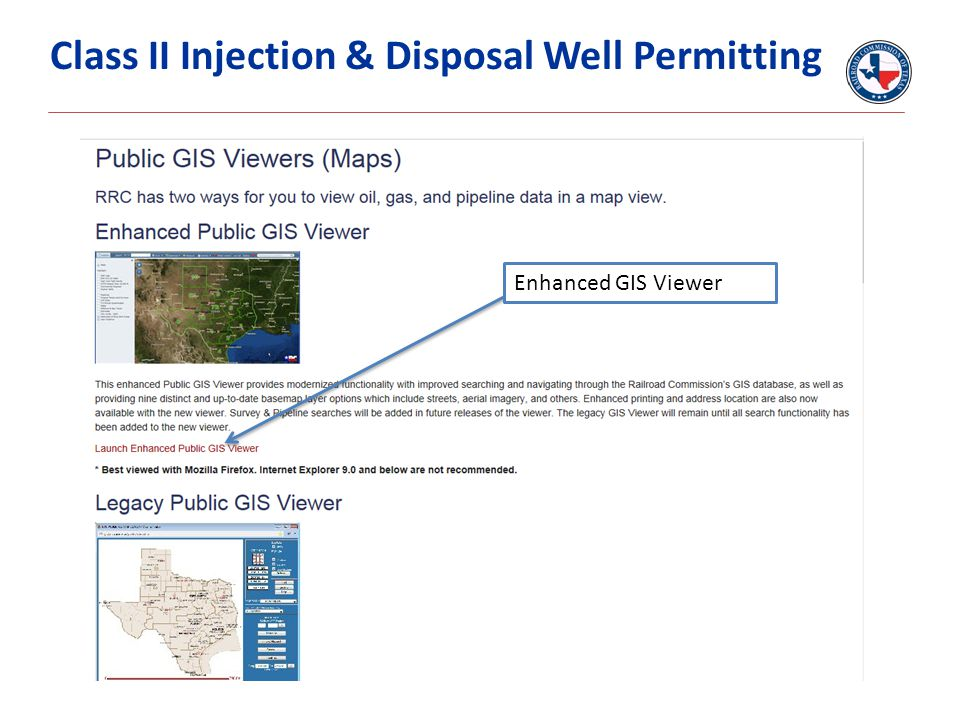 (Insert Graph Here) Delete if un-needed Class II Injection & Disposal Well Permitting Enhanced GIS Viewer