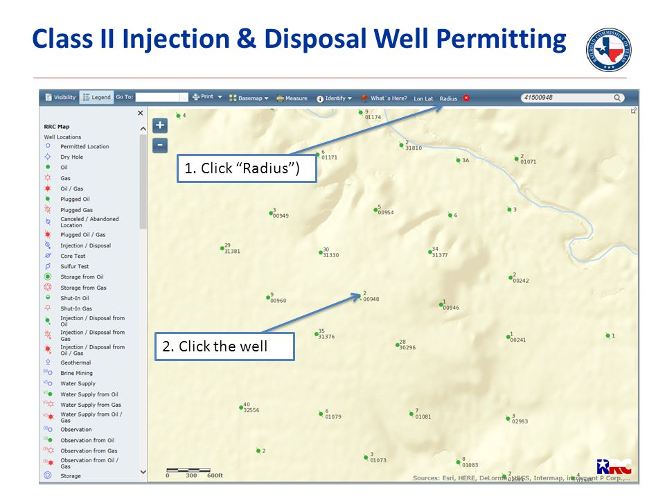 """Class II Injection & Disposal Well Permitting 1. Click """"Radius"""") 2. Click the well"""