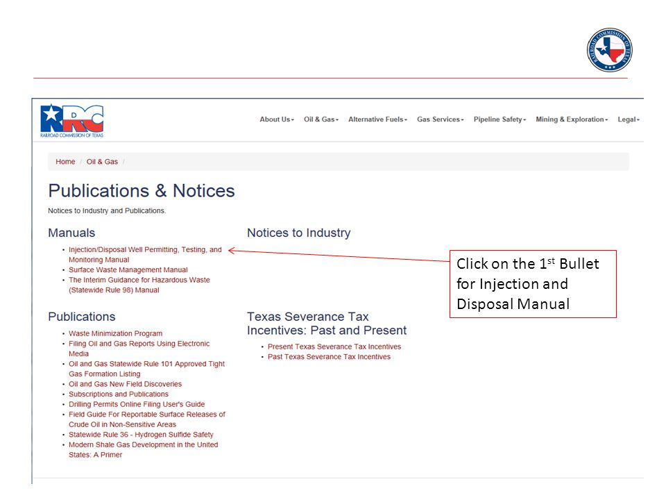 Click on the 1 st Bullet for Injection and Disposal Manual