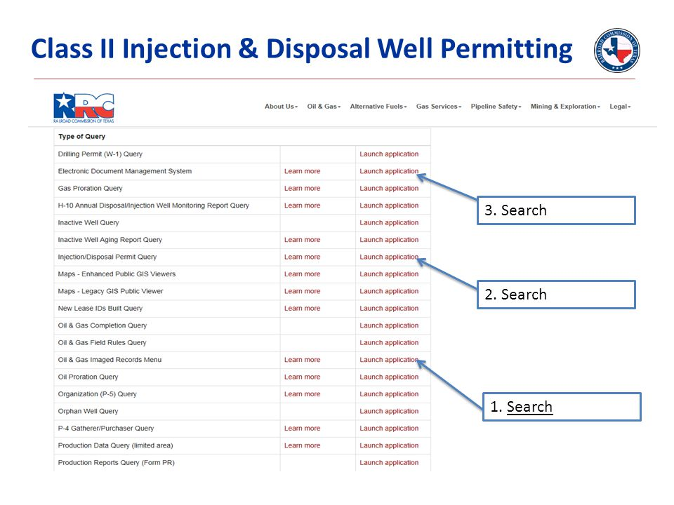 Class II Injection & Disposal Well Permitting 1. Search 3. Search 2. Search