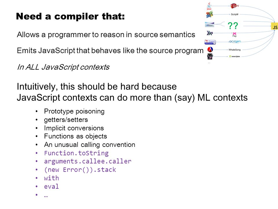 Allows a programmer to reason in source semantics Emits JavaScript that behaves like the source program In ALL JavaScript contexts Need a compiler that: Intuitively, this should be hard because JavaScript contexts can do more than (say) ML contexts Prototype poisoning getters/setters Implicit conversions Functions as objects An unusual calling convention Function.toString arguments.callee.caller (new Error()).stack with eval … ??
