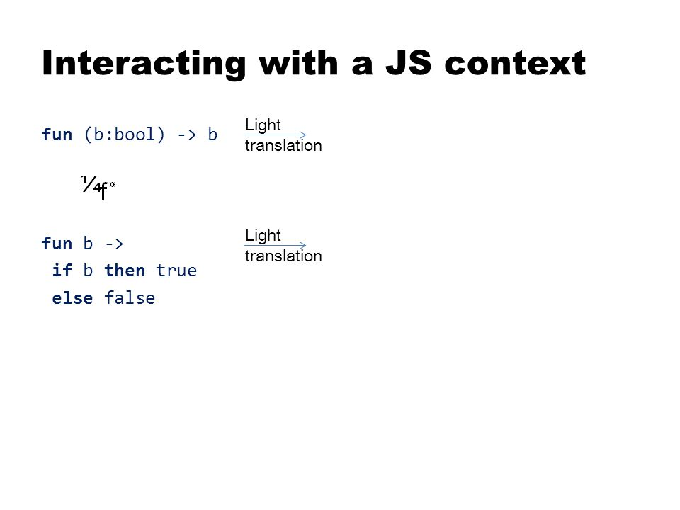 Interacting with a JS context fun (b:bool) -> b function (b) { return b; } fun b -> function (b) { if b then true return b ? true : false; else false