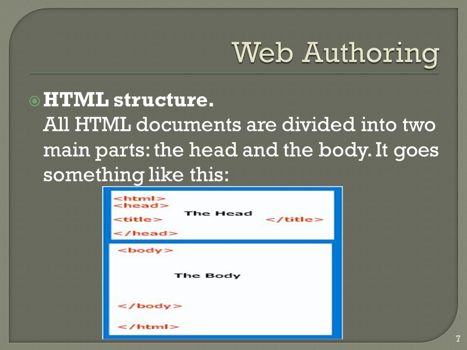  HTML structure.All HTML documents are divided into two main parts: the head and the body.