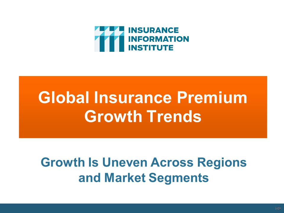 Global Insurance Premium Growth Trends 102 Growth Is Uneven Across Regions and Market Segments 12/01/09 - 9pm 102