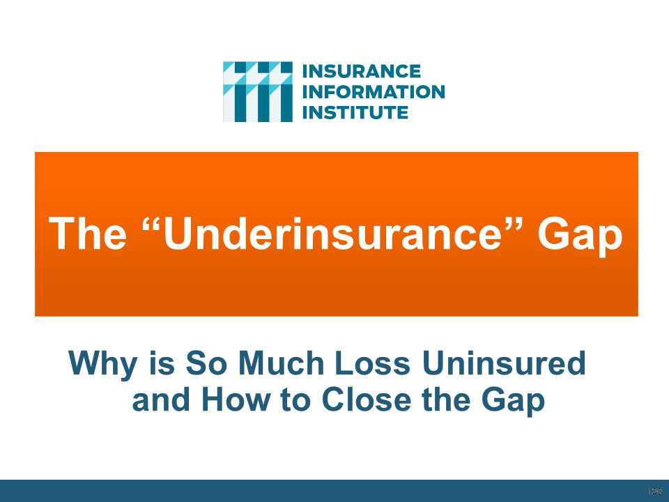 120 The Underinsurance Gap 12/01/09 - 9pm 120 Why is So Much Loss Uninsured and How to Close the Gap
