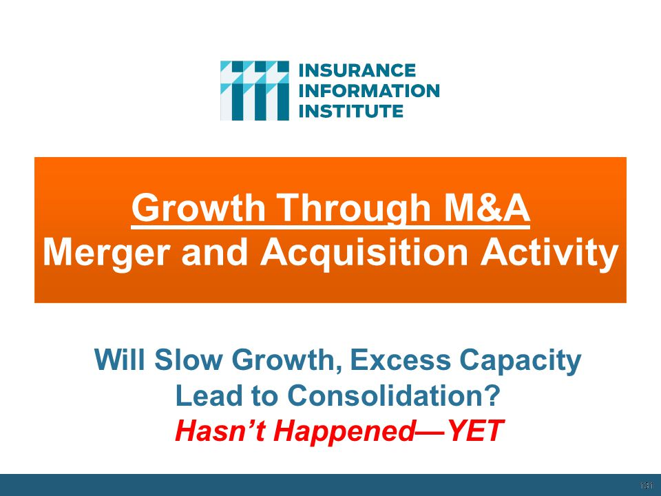 Growth Through M&A Merger and Acquisition Activity 131 Will Slow Growth, Excess Capacity Lead to Consolidation.