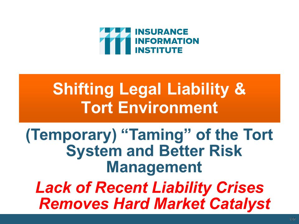 Shifting Legal Liability & Tort Environment 137 (Temporary) Taming of the Tort System and Better Risk Management Lack of Recent Liability Crises Removes Hard Market Catalyst 12/01/09 - 9pm 137