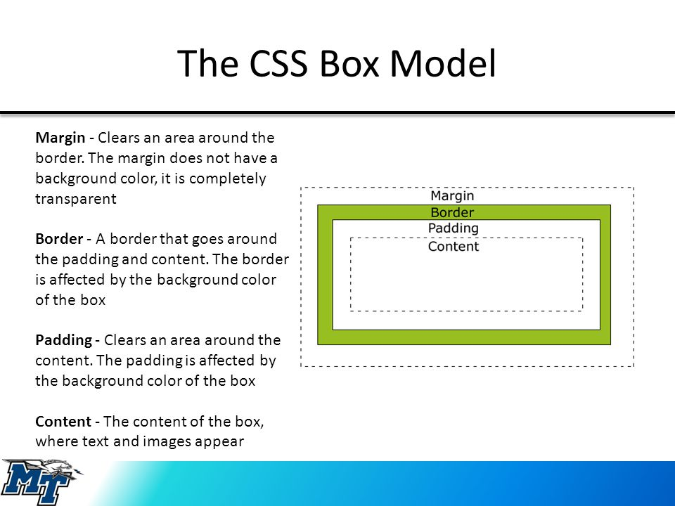 The CSS Box Model Margin - Clears an area around the border. The margin does not have a background color, it is completely transparent Border - A bord