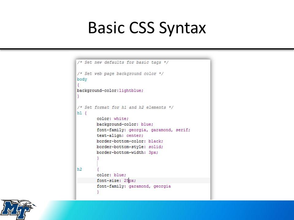 Basic CSS Syntax