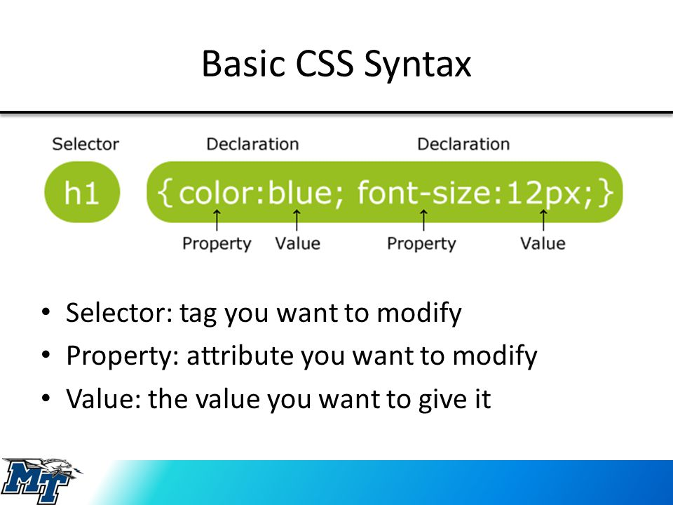 Basic CSS Syntax Selector: tag you want to modify Property: attribute you want to modify Value: the value you want to give it