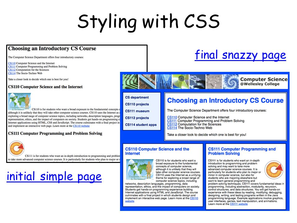Styling with CSS final snazzy page initial simple page