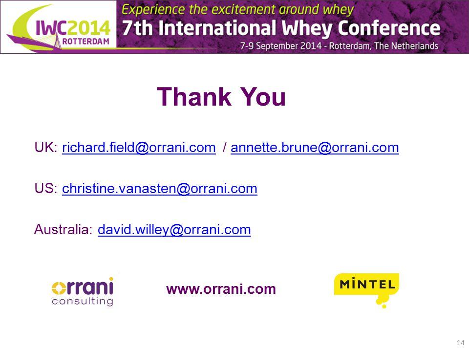 Thank You UK: richard.field@orrani.com / annette.brune@orrani.comrichard.field@orrani.comannette.brune@orrani.com US: christine.vanasten@orrani.comchristine.vanasten@orrani.com Australia: david.willey@orrani.comdavid.willey@orrani.com www.orrani.com 14