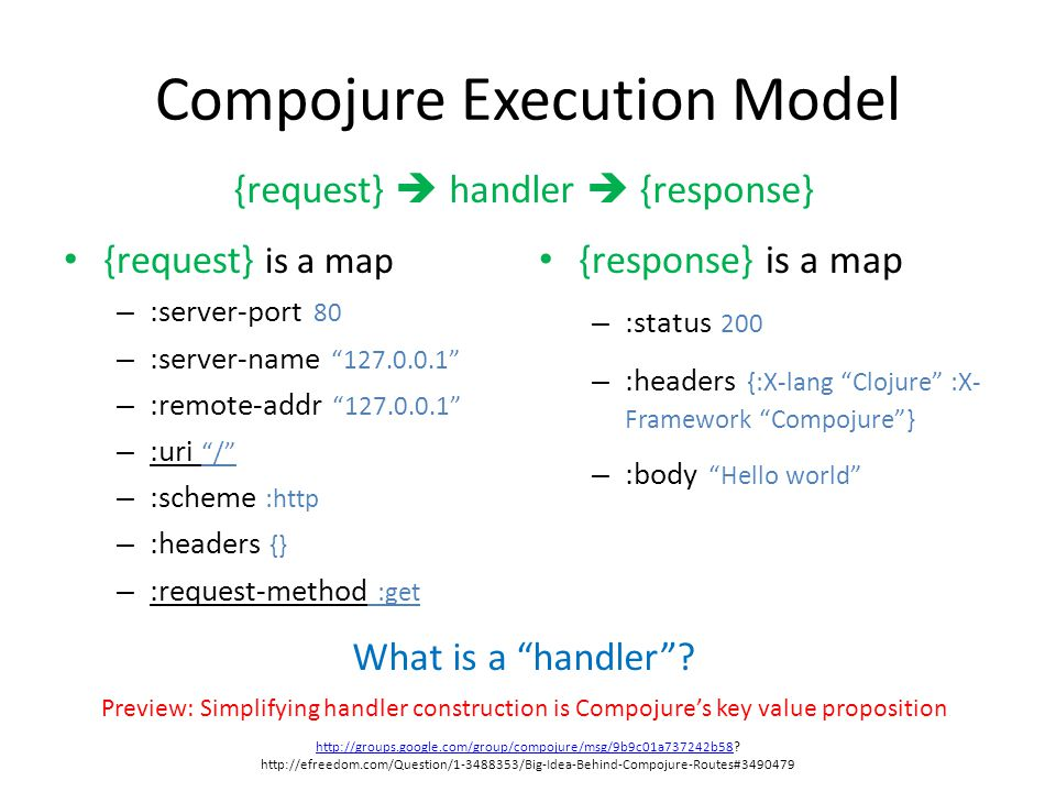 "Compojure Execution Model What is a ""handler""? {request} is a map – :server-port 80 – :server-name ""127.0.0.1"" – :remote-addr ""127.0.0.1"" – :uri ""/"" –"