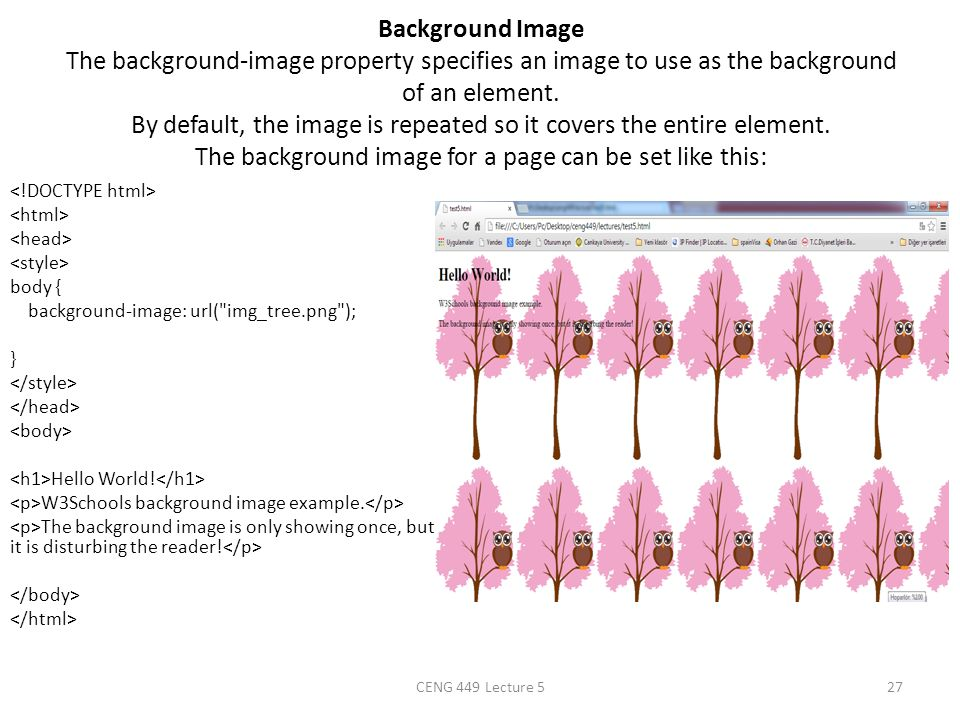 Background Image The background-image property specifies an image to use as the background of an element. By default, the image is repeated so it cove