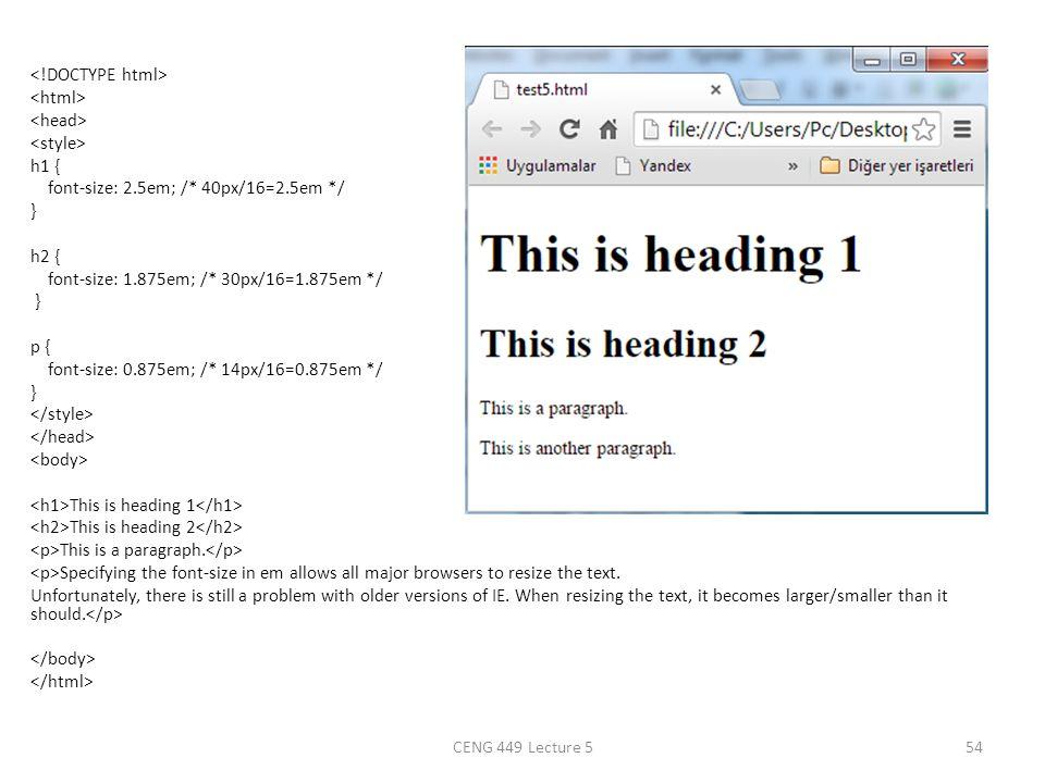 h1 { font-size: 2.5em; /* 40px/16=2.5em */ } h2 { font-size: 1.875em; /* 30px/16=1.875em */ } p { font-size: 0.875em; /* 14px/16=0.875em */ } This is