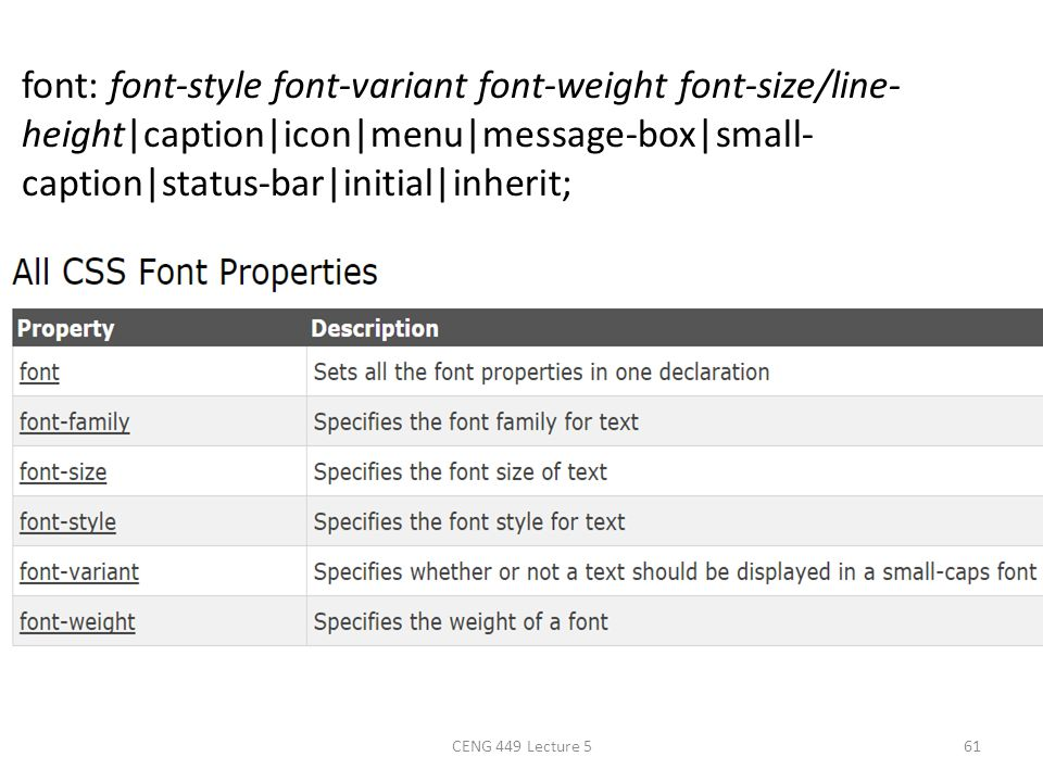 font: font-style font-variant font-weight font-size/line- height|caption|icon|menu|message-box|small- caption|status-bar|initial|inherit; CENG 449 Lec