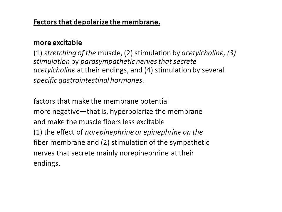 Factors that depolarize the membrane.