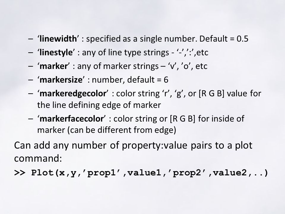 –'linewidth' : specified as a single number.
