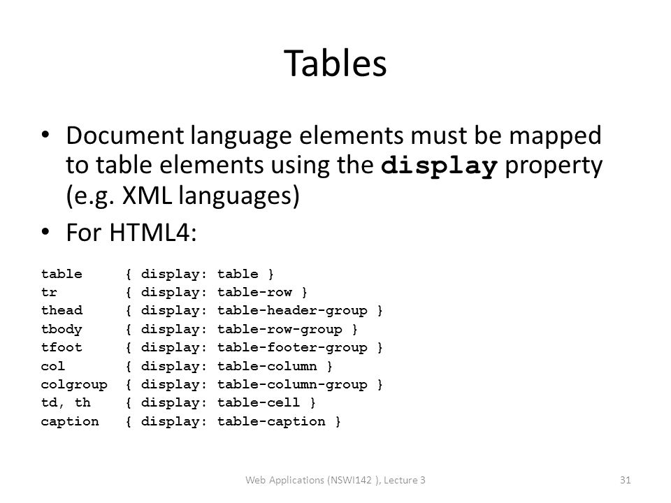 Tables Document language elements must be mapped to table elements using the display property (e.g.