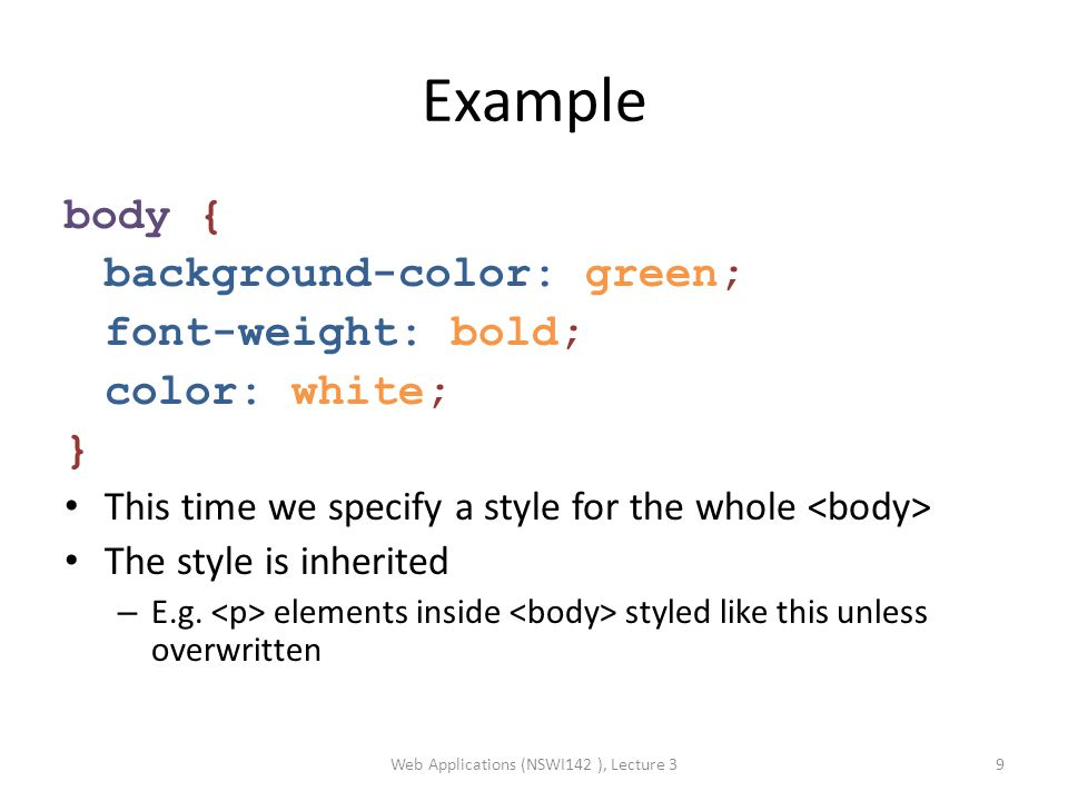 """CSS and (X)HTML id and class attributes can be specified for each (X)HTML element – One id uniquely identifies ONE specific element – One class can be assigned to MULTIPLE elements These (X)HTML attributes are commonly used for CSS styles (and other things – JavaScript, …) Using CSS we can say: – """"heading with id= xy will be red – """"each element with class= blue will be blue Example: … In CSS we will exploit the div and span elements Web Applications (NSWI142 ), Lecture 310"""